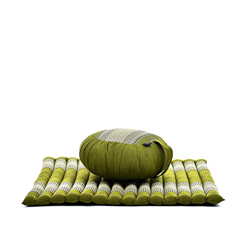 Leewadee Set Cuscini da Meditazione: Cuscino Rotondo Zafu E Grande Tappetino Quadrato Zabuton per La Seduta A Pavimento Ecologico Organico E Naturale, Kapok, Verde