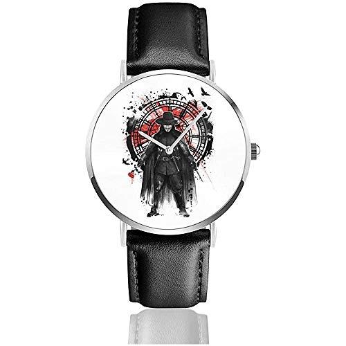 Business Casual V für Vendetta Remember The Fifth of November Uhren Quarz Lederuhr