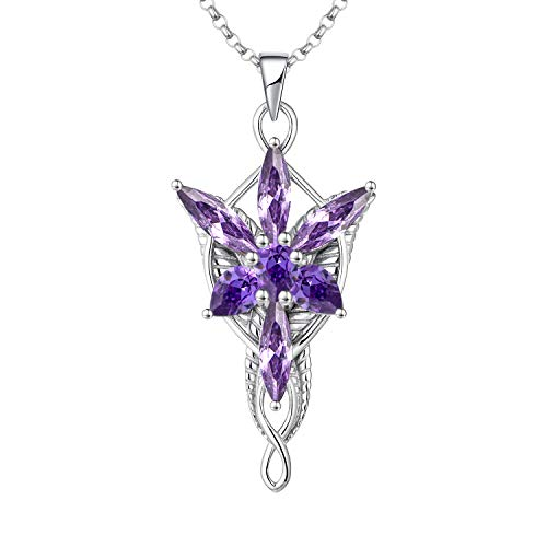 JO WISDOM Arwen Evenstar Necklace,925 Sterling Silver Pendant Necklace with 5A Cubic Zirconia February Birthstone Amethyst Color,Elvish Jewelry for Women