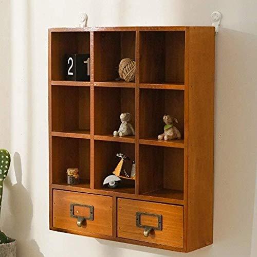 Estante montado en la pared estantes flotantes de madera con cajón caja de almacenamiento para artículos pequeños Estante decorativo retro estante de pared para coleccionables marcos de fotos plantas