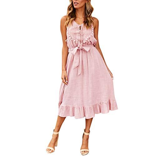 Kleid Damen Kolylong Frauen Elegant V-Ausschnitt Quaste Ärmelloses Kleid Knielang Vintage Spitze Rüschen Kleid mit Gürtel Swing Strandkleid Cocktail Partykleid Abendkleid