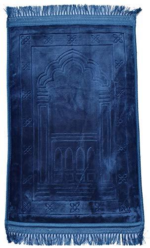 Crown - Alfombra de oración musulmana, supersuave, extra gruesa, tamaño XXL, 70 x 110 cm, muy cómoda, lisa, color azul turquesa