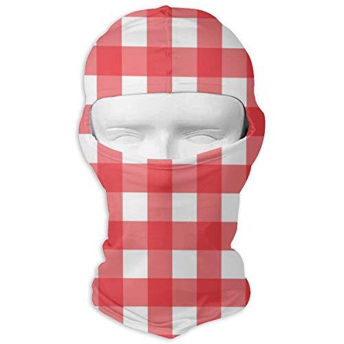 Sitear rood en wit geruit tafelkleed patroon volledig gezicht masker kap hals warm voor mannen en vrouwen outdoor sport winddicht zonnebrandcrème gepersonaliseerd
