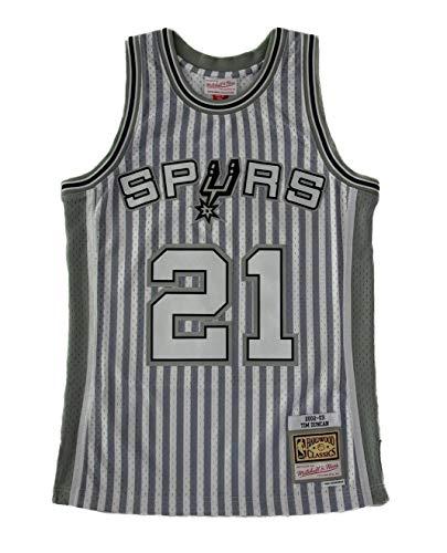 Mitchell & Ness Striped NBA Swingman S.A. Spurs T.Duncan - Jersey de punto de cruz, color negro Negro L