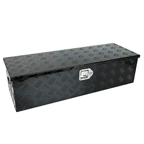 "TYFYB 39""X13""X10"" Black Aluminum Heavy Duty Pick-Up Truck Bed 5 Bar Tread Tool Box Trailer Storage Tool Box With Lock & Keys"