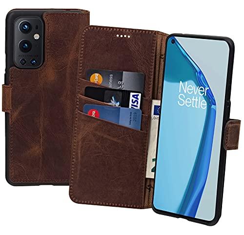 Suncase Book-Style Hülle kompatibel mit OnePlus 9 Pro Leder Tasche (Slim-Fit) Lederhülle Handytasche Schutzhülle Hülle mit 3 Kartenfächer in antik-Coffee