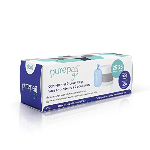Dooli PurePail Go Refill Bags, Use with PurePail Go Diaper Pail (Sold Separately), 25 Bags (304)