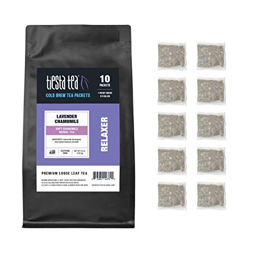 Tiesta Tea -- Soft Lavender Cold Brew Herbal Tea, Lavender Chamomile, 10 Cold Brew Tea Packets, Brews 1 Family-Sized Pitcher Each, All Natural, No Caffeine, Stress-Relief