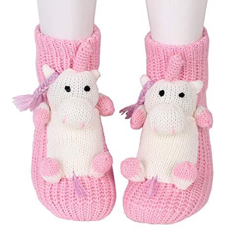 Preisvergleich Produktbild Weihnachtlicher Stricksocken,  rutschen nicht,  warme Haushalts-Socken für Damen,  warme Winter-Socken für den Innen- und Außenbereich,  3D,  Cartoon-Haussocken,  für Damen Gr. One size,  Einhorn pink