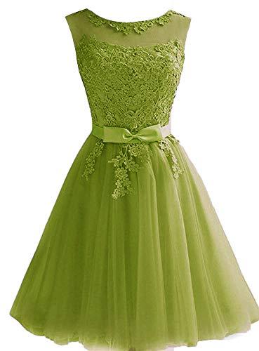 EileenDor Women's Short Prom Dresses Tulle Lace Junior Homecoming Bridesmaid Dresses Knee Length