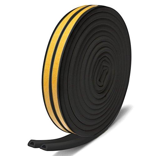 隙間テープ,Misirin 気密 窓 ドア 環境にやさしい 強力接着剤 パッキン 防風 防音 防虫 隙間 すきま 戸当たり 2本入 D型 ブラック (色選択あり)