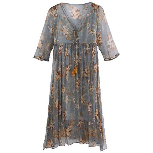 BINGQZ Kleid Seidenkleid Herbst Neue Damen Damen sanft Super Fee zweiteilig Langen Rock Herbst Blumenrock weiblich