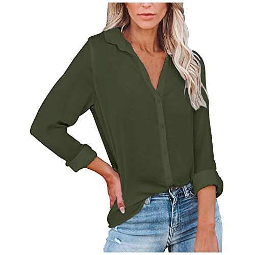 Moda casual para mujer de manga larga, cuello de pico, camisa monocromática, tops, sudadera., Verde militar.,...