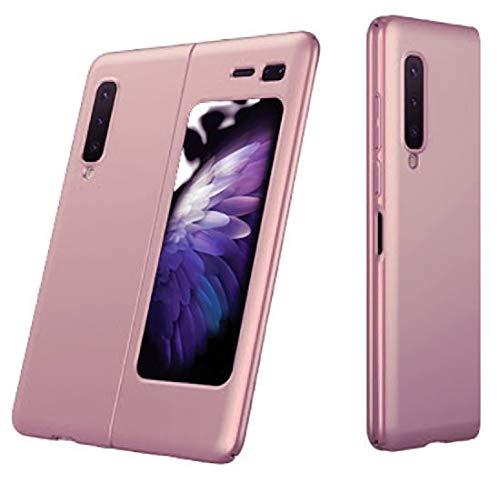 XJZ Compatible para Samsung Galaxy Fold Funda(2020)+3D Vidrio Templado Protector de Pantalla/Carcasas Ultra Fina Silicona Caja,Bumper 360°Protectora Cojín Skin Case Caso Cover-Oro Rosa