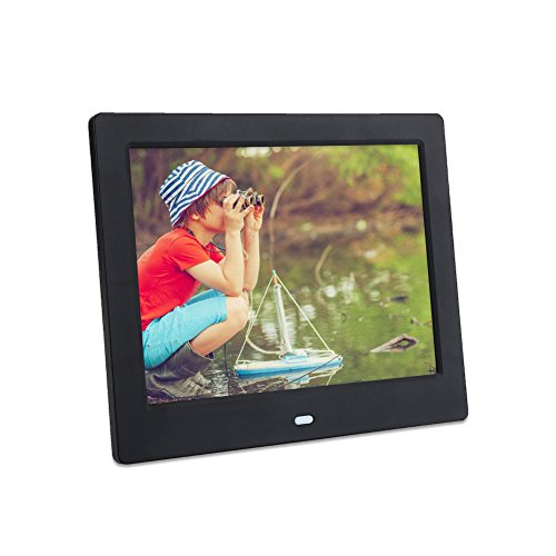 "Serounder Digital Picture Frame, 8"" 1024X768 HD LED Screen Electronic Photo Frame Digital Album with Remote Controller Support Alarm Clock/Calendar/Audio Video Playback/3.5mm AUX/USB/SD Card(Black)"