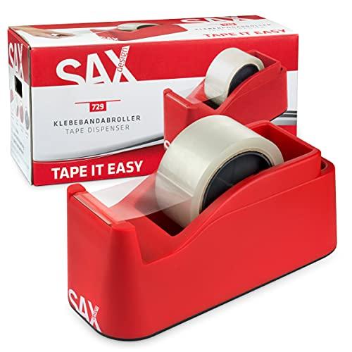 SAX Dispensador de cinta adhesiva Tape it Easy, con función de soporte para bolígrafo, fácil de desenrollar con una mano, hoja duradera, para 1 cinta de 50 mm o 2 cintas de 25 mm