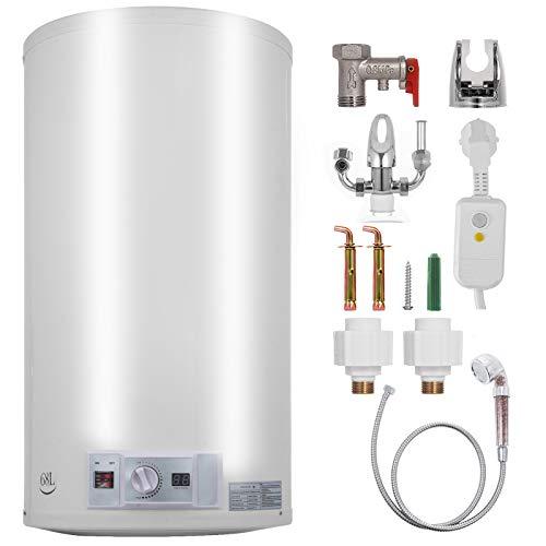 FlowerW Elektrischer Warmwasserbereiter 1 kW / 2 kW Elektrischer Durchlauferhitzer 68 L Temperatureinstellbereich 30-75 ℃ 0,7 MPA Wasserdruck mit Tank Warmwasserbereiter für Küche,Bad