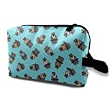 (34 Scale) Dapper Dogs - Pit Bull - Top Hat Mustache - Blue - LAD19BS_4955 Toiletry Bag Cosmetic Bag Portable Makeup Pouch Travel Hanging Organizer Bag for Women Girl 10x5x6.2 inch