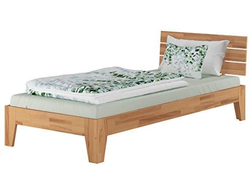 Erst-Holz® Einzelbett Buchebett geölt Massivholz Jugendbett Futonbett 90x200 mit wählbarem Zubehör V-60.82-09, Ausstattung:ohne Zubehör