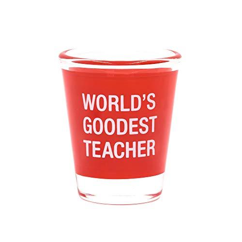 World's Goodest Teacher Red 6 oz Glass Shot Glass