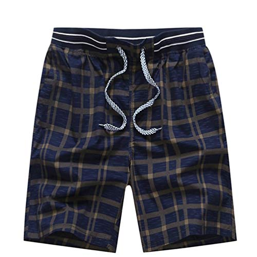 Feidaeu Shorts pour Hommes Style Classique à Carreaux Ajustable Cordon élastique Ceinture élastique Été Section Mince Pantalon Confortable