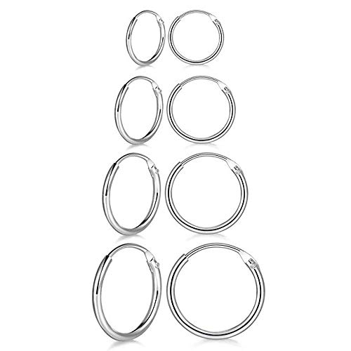 PRETTERY Silver Hoops Earrings for Women, 4 Pairs White Gold Plated Hoop Earrings Set, Sterling Silver Hypoallergenic Sleeper Cartilage Earrings Sets, Thickness 1.2mm, Diameter 8mm 10mm 12mm 14mm