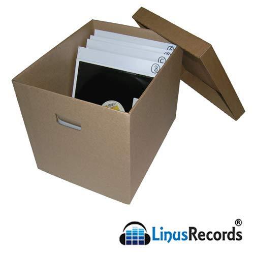 LinusRecords - kartonnen doos met deksel voor maximaal 100 platen 30,5 cm (12 inch) LP 33 omwentelingen (3 stuks in totaal 300 lp).