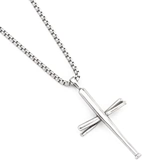 AB Max Cross Necklace Baseball Bats - Stainless Steel Athletes Cross Pendant Sports Necklaces Gifts for Men Women Teen Boys Girls