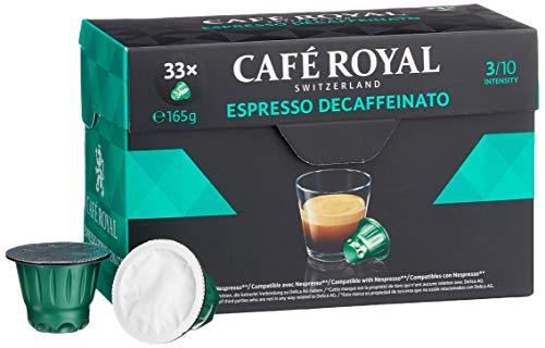 Café Royal Espresso Decaffeinato 33 Nespresso kompatible Kapseln (Intensität 3/10) 1er Pack (1 x 33 Kaffeekapseln)