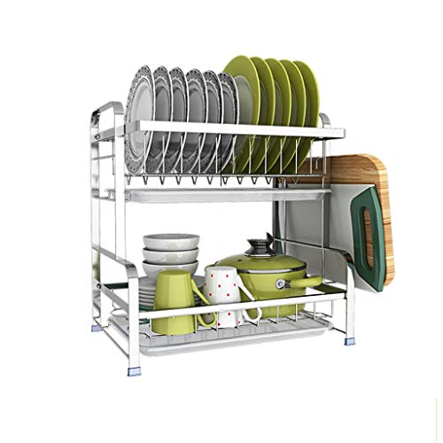 GY Égouttoir En Acier Inoxydable Couche Double Comptoir De Cuisine Rangement De La Vaisselle Lave-vaisselle Séchoir Évier Rangement Latéral Argent, 42 * 28 * 43cm (Couleur : Silver+A)