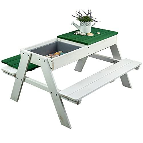 Meppi Sitzgruppe Rügen weiss/grün Kindersitzgruppe aus Holz für Outdoor/Indoor Einsatz