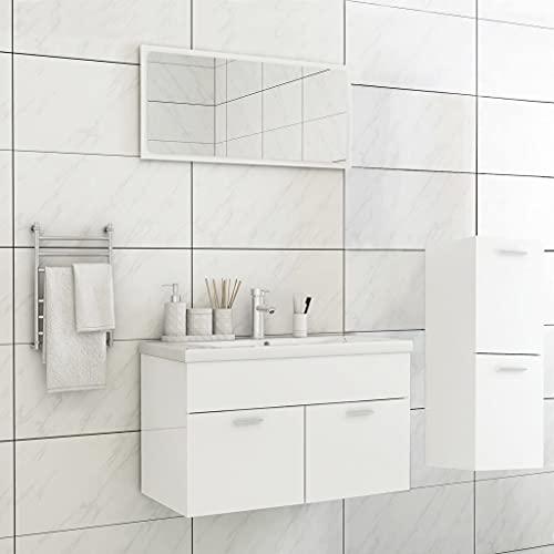 FAMIROSA Conjunto de Muebles de Baño Aglomerado Blanco Brillante-1465