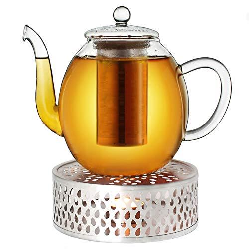 Creano Teekanne aus Glas 1,5l + EIN Stövchen aus Edelstahl, 3-teilige Glasteekanne mit integriertem Edelstahl Sieb und Glasdeckel, ideal zur Zubereitung von losen Tees, tropffrei