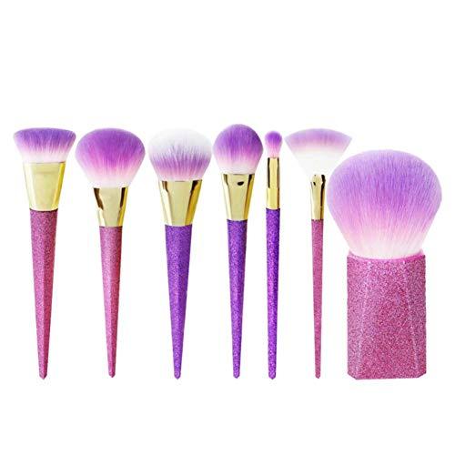 Chytaii. Kit de Pinceau Maquillage Professionnel Fibre Synthétique pour les Poudres, Anticernes, Contours, Fonds de Teints Cosmétique Brush Brosse 7pcs Pourpre