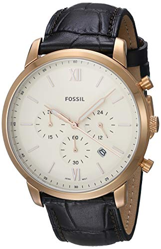 Fossil Men's Neutra FS5558 Rose-Gold Leather Japanese Quartz Fashion Watch