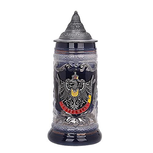 Taza de cerveza de 0,6 litros, diseño de cerveza Stein Alemania, Oktoberfest Tankard Eagle Deutschland Bierkrug para hombre, botella de cerveza para el día del padre, tapa de...