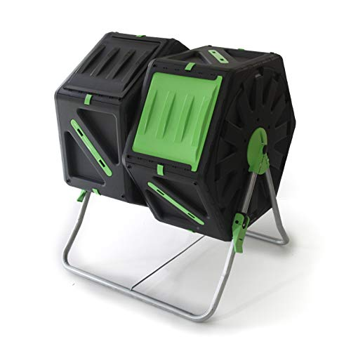 UPP Trommel-Komposter Rollkomposter 2 Kammern je 70L | Kompostierer | Composter | interne Belüftung | Sicher vor Ungeziefer | Schnellkomposter