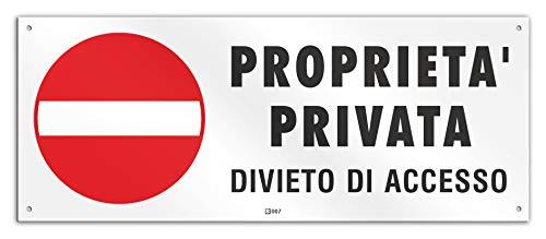 Cartello cm 30x12 - Proprietà Privata Divieto di Accesso (PVC spessore 1 mm con 4 fori)