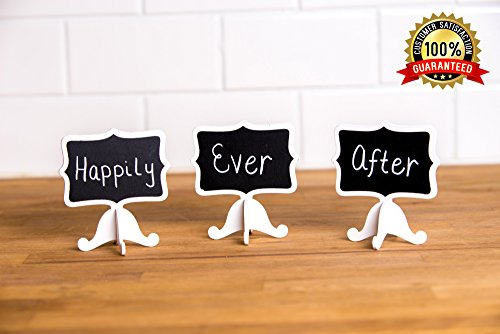 Mini Chalkboard Place Cards with Easel Stand DELUXE for Wedding (12 Sets) Message Board Signs, Parties, Table Top Numbers, Food Signs and Special Event Decoration. JordanLee Product