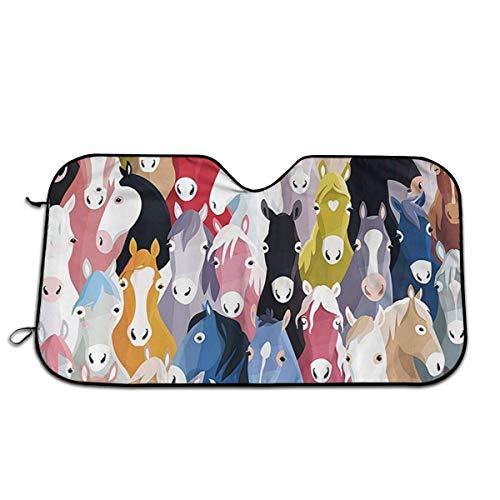 ~ Dibujos animados coloridos Caballos Pony Patrón infantil Parasol delantero para automóvil Parabrisas Jumbo/Parasol estándar Mantiene el vehículo fresco-Protector de rayos UV Parasol