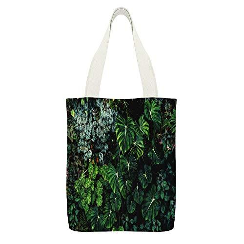 Leinen-Einkaufstasche, üppiges Laub, grüne Pflanze, Wandfarbe, weiß, wiederverwendbar, umweltfreundlich, super stark, Schultertasche, Geschenke
