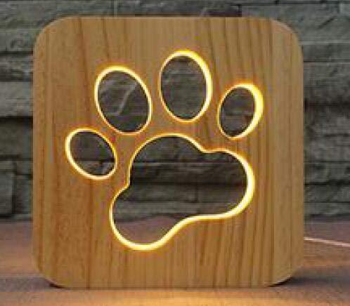 Marco de madera Hueso de pata de perro Luz de noche 3D Decoración de dormitorio Lámpara de mesa cálida Francia Bulldog francés Lámpara de mesa USB Regalo de Navidad para niños