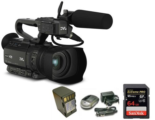 Kit Camcorder GY-HM170 JVC 4K Ultra HD with Handled, Microphone JVC MIC-QAN0067 + 1 Battery + 1 Battery Charger + 1 Memory Card Sandisk 64Gb - 95Mb