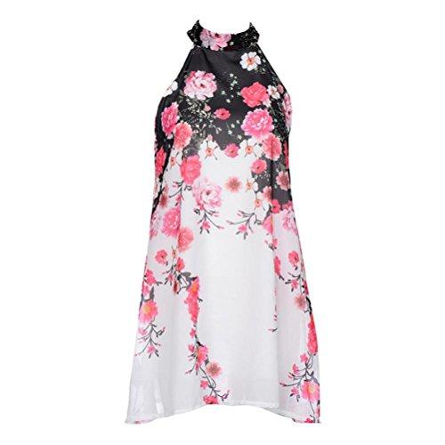 Tefamore Summer Short Robes Occasionnelles Womens Floral Col Rond Coupé sans Manches Robe (M, Blanc)