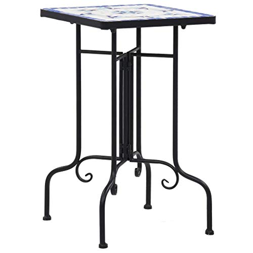 vidaXL Mosaic Side Table Plant Tables Flower Desks Balcony Table Bistro Outdoor Garden Patio Furniture Blue and White Ceramic