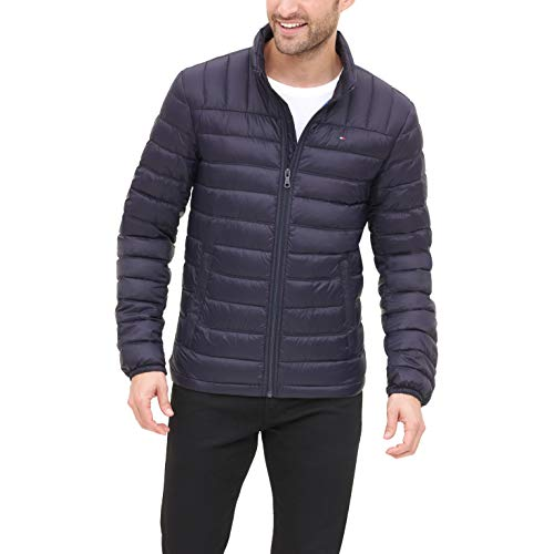 Tommy Hilfiger Men's Lightweight Water Resistant Packable Down Puffer Jacket (Regular and Big & Tall), Midnight, Medium