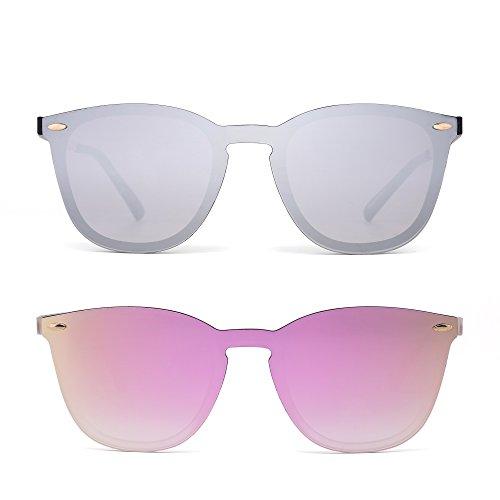 Preisvergleich Produktbild JIMHALO Randlos Sonnenbrille Ein Stück Spiegel Reflektierend Brille 2 Stück Für Damen Herren(Silber&Rosa)