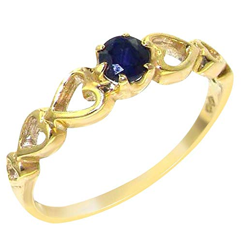 9ct Yellow Gold Natural Sapphire Womens Engagement Ring - Size R - Sizes J to Z Available