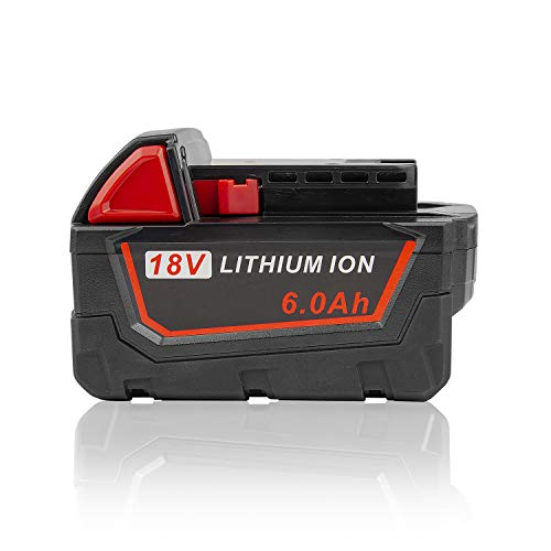 ARyee 18V 6.0Ah M18 M18B Xc Battery Replacement for Milwaukee Lithium Battery Power Tools 48-11-1820 48-11-1840 48-11-1850 48-11-1828 48-11-1815 Cordless Tool Batteries with LED Indicator (1)