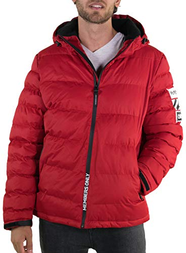Members Only Men's Twill Puffer Jacket -Red L